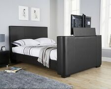 Luxury TV Bed in Black Brown or White with built in Electric TV stand