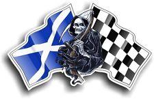 Death The GRIM REAPER & Scotland Scottish Saltire Racing Flag vinyl car sticker