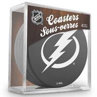 TAMPA BAY LIGHTNING Hockey TEAM LOGO 4 COASTER SET NEW Made from Actual Puck NHL