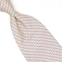 Zanolini Mens Silk Necktie Champagne Red Blue Check Print Tie Made in Italy