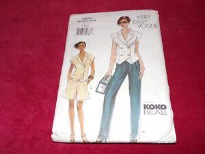 🌸 VOGUE #7576 - LADIES DESIGNER KOKO BEALL TOP - SHORTS & PANTS PATTERN 8-12 FF