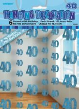 GLITZ BLUE 6 HANGING DECORATIONS 40TH BIRTHDAY 1.5M/5' BIRTHDAY PARTY SUPPLIES