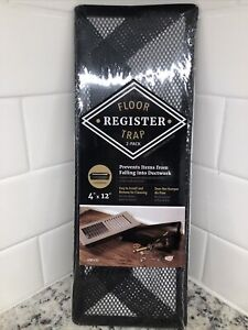 """Floor Register Trap - Screen for Home Air Vent Filters 4""""x12"""" 2-Pack"""