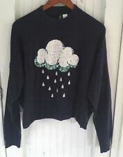 H&M DIVIDED Womens Navy Blue Sequin Rain Cloud Sweater Size Large Embroidered