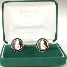 SWISS cufflinks made from real coins in Black & Gold