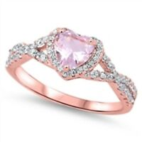 USA Seller Infinity Heart Ring Sterling Silver 925 8 mm Pink Morganite CZ Size 6