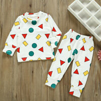 2PCS Infant Kid Baby Boy Cute Cartoon Long Sleeve Top Pants Christmas Pajama Set