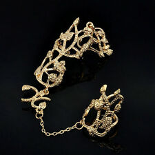Fashion Women Punk Rock Gothic Gold Silver Double Full Finger Knuckle Armor Ring