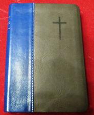 Russian Bible Leather Русская Библия синяя/серая с серебренным срезом