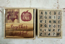 Set of Fall Season and Alphabet Letters Wooden Stampers Lot of 34 Stampers NEW