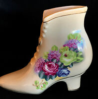 Vintage Porcelain Shoe Collectors High Heeled White w/ Purple Green Flowers Gold