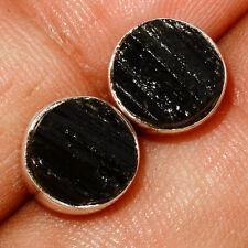 Black Tourmaline Rough 925 Sterling Silver Earrings Stud Jewelry AE153914