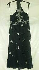 DEBUT 100% Silk Black /silver Sequenced Dress 14