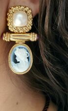 Ruby Cabochons Pearl and Agate Cameo Earrings 14K Yellow Gold