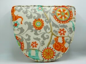Chair Cushion 15 x 17 x 2 inches Bright Orange Gray Turquoise Scroll  Elephant