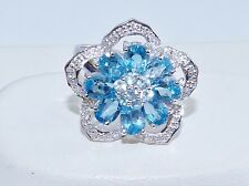 GENUINE 4.75tcw! Swiss Blue & Sky Blue Topaz Flower Ring, Solid S/Silver 925.