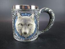 Wolf Tasse Relief mit Edelstahl Becher Wolve mug sehr dekorativ