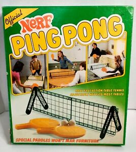 Nerf Ping Pong Table Tennis Set Parker Brothers Vintage COMPLETE