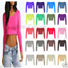 WOMENS LADIES CROP TOP LONG SLEEVE CREW SCOOP NECK SHORT T SHIRT CROPPED TOP