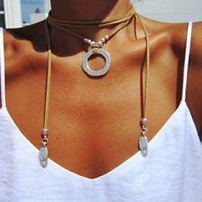 Retro 180cm Damen Leder Choker Halskette Kreis Halsband Kette Lang Anhänger