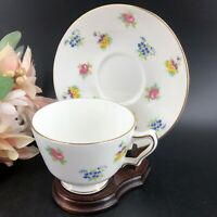 Vintage Crown Staffordshire Teacup & Saucer Wooden Display Stand England Exc