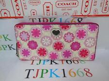 NWT COACH~White Multicolor~Floral Print Accordion Zip Around Wallet F 50672