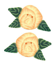 Small Yellow Cabbage Rose Polymer Clay Button Pack of 2 -about 1 inch -FREE SHIP