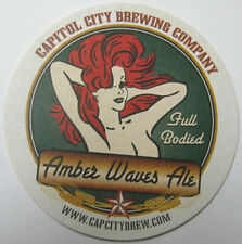 AMBER WAVES ALE Beer COASTER Mat w/ Red-Head GIRL, Capitol City, WASHINGTON D.C.