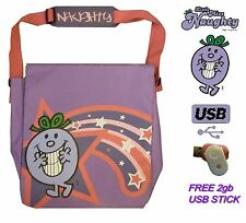 Mr Men Little Miss Naughty Womens Girls Messenger School Bag Satchel + 2gb USB