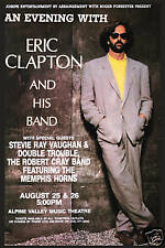 Rock Gods: Eric Clapton & Stevie Ray Vaughan Concert Poster 1990