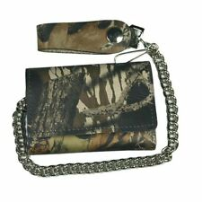 4 INCH CAMO TRIFOLD LEATHER WALLET WITH CHAIN WALLET