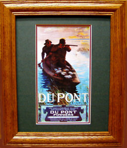 Vintage Reproduction of Old DU PONT ad showing Sneak Gunners in Layout Boat NICE