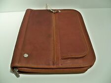 Full Grain Leather Fan File Folio Portfolio - Red-Brown or Black-Brown