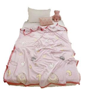 New Pink Blue Anime Sailor Moon Bedding Home Decor Cotton Duvet Cover Sheet Sets