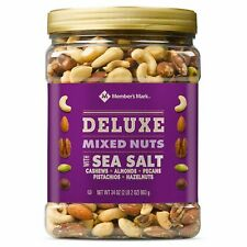 Member's Mark DELUXE Roasted Mixed Nuts With Sea Salt (34 oz.) NEW.