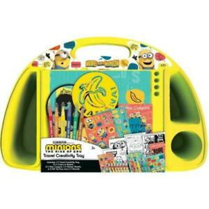 Yellow - Minions Movie Creativity Travel Tray - Colour & Sticker Sheets Stencils