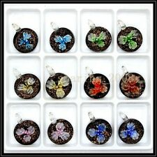 12 Pcs Lovely round Crystal Murano art glass beaded leather pendant necklace