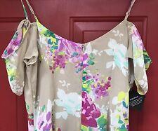 Nastygal Dress XS NWT Maxi Floral Off The Shoulder NEW Tan Purple Cold Shoulder