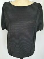 Chicos Black Gray Pinstripe Top Size 2 Large Dolman Sleeve Crew Neck Shirt