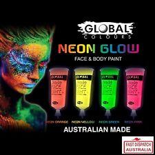 GLOBAL UV Glow Face Paint Neon 4 x 15mL Black Light Glow in the Dark. CHEAP TOO
