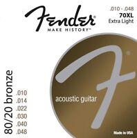 1 PACK Fender 70XL 80/20 Bronze Acoustic Guitar Strings - EXTRA LIGHT 10-48