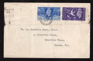 GB 1946 FDC KGVI Peace 2½d & 3d pair, London C ring slogan cancel, sc#264-265