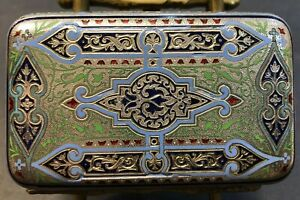 Antique Imperial Russian Enamel Silver Cigarette Case (Ovchinnikov)