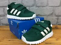 ADIDAS UK 6 EU 23 FOREST GROVE GREEN WHITE CASUALS BOYS GIRLS CHILDRENS LG