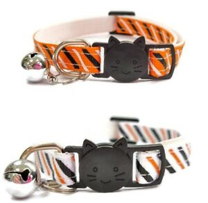 Kitten Collar with Bell - Stripe Print   Pet Collars   Safe Quick Release Buckle