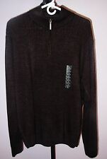 NEW $65 Brown Soft Geoffrey Beene Zip Up Stand Collar Men's Sweater Size L Large