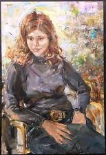"Vtg NICOLA BLAZEV (1913-1974) Large Portrait Beautiful Woman Sitting 34"" x 23"""
