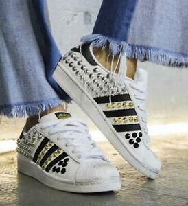 Adidas Superstar Classic White Strips Black Studs Coloured Studded