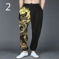 Men Harem Pants Trousers Loose Casual Dragon Retro Baggy Fashion Black Stylish