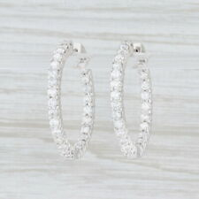 3.50ctw Diamond Inside Out Hoop Earrings 14k White Gold Snap Top Round Hoops